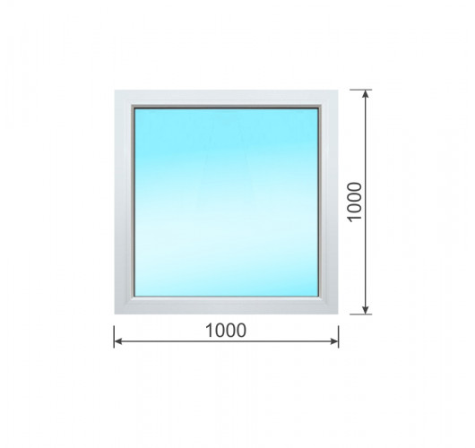 Окно ПВХ одностворчатое 1000x1000 (ШxВ)